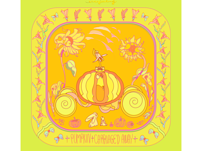 Hey Pumpkin Carriage'd Away! nature plants sunflower floral pattern garden pumpkin vector illustration bunny digital art