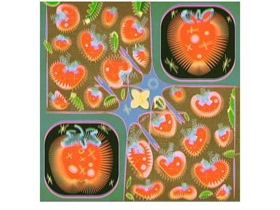 grumpy electric 'berries! decorative surface design pattern fruit spring vector illustration digital art