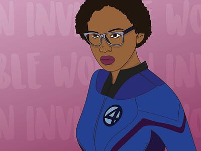 Invisible Woman black superhero supershero invisible woman illustration marvel
