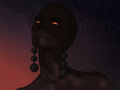 All Things Black And Beautiful vibrant color colour art skin portrait dark black galaxy gradient illustration