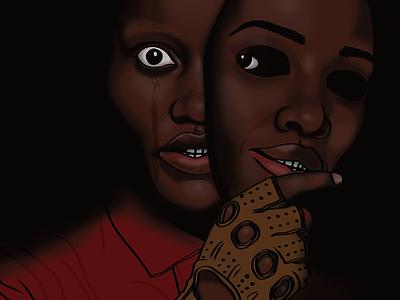 Us - Lupita Nyong'o usmovie us lupitanyongo lupita jordan peele dark illustrator affinity design creative art artwork black illustration
