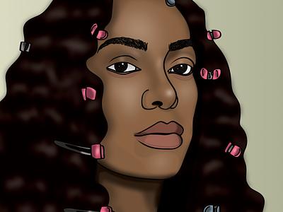 Solange - Don't Touch My Hair affinitydesigner illustrator digitalillustration hair afro beyonce solange creative art artwork black illustration