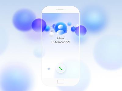 Incoming purple concept bubble call interface