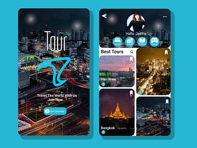 Mobile app Tour logo design ui app