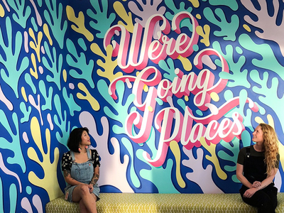 Mural Assisting with Lauren Hom 🖌 handdrawn type painting type typography lettering mural