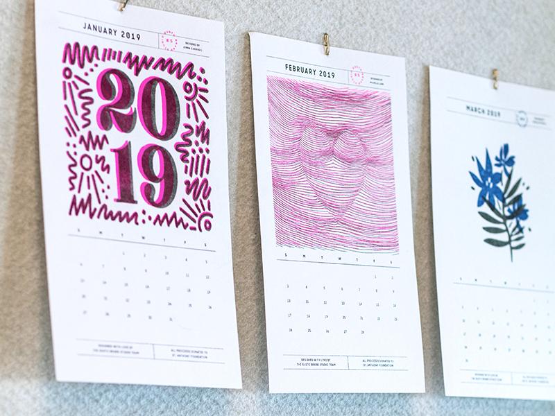 2019 RISO Calendar handmade printing 2019 risoprint print riso calendar design illustration handdrawn lettering typography