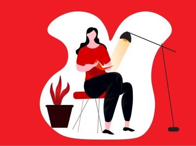 a reading girl illustrations illustraion logo illustrator illustration art