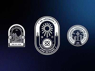 To Affinity and Beyond toronto san francisco beyond badge branding vector illustration