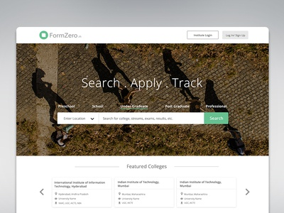 Home search application college landing page ui wesbite