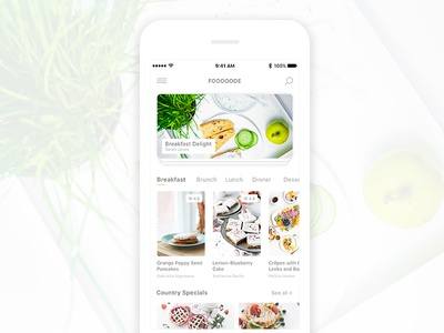 Fooooode- Recipe App cooking breakfast modern minimal app recipe food