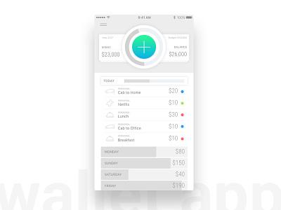 Wallet App ios ux minimal expense manager money wallet ui app