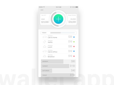 Wallet App ios ux minimal expense manager money wallet ui app