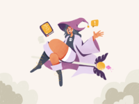 Hi Wizard procreate design girl wizard fantasy playful illustrator character illustration