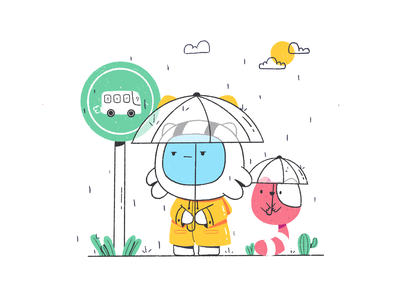 Waiting Bus friend waiting bus yellow astronaut mascot monster cute playful illustrator character illustration