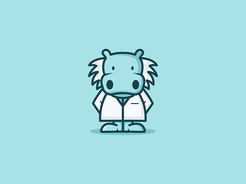 Hippoenstein einstein hippo vector mascot logo