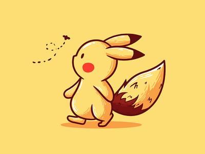 Pikavee pokemon fanart cute vector illustration eevee pikachu