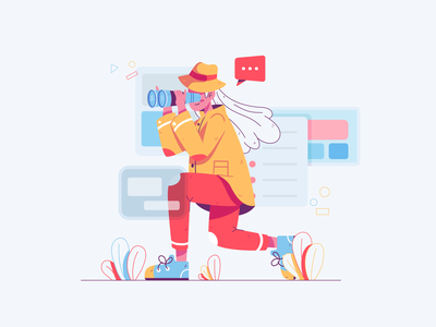 Nothing Here Yet design uidesign pastel color pastel soft vector playful illustrator character illustration searching education web ui explore