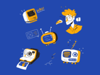 Favorite Stuff yellow blue desktop mac procreate camera radio television stuff vintage playful illustrator character illustration