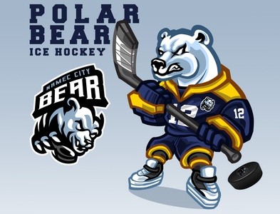 Polar Bear ICE HOCKEY - Sports mascot design
