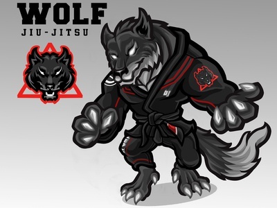 Wolf Jiujutsu - Sport mascot design