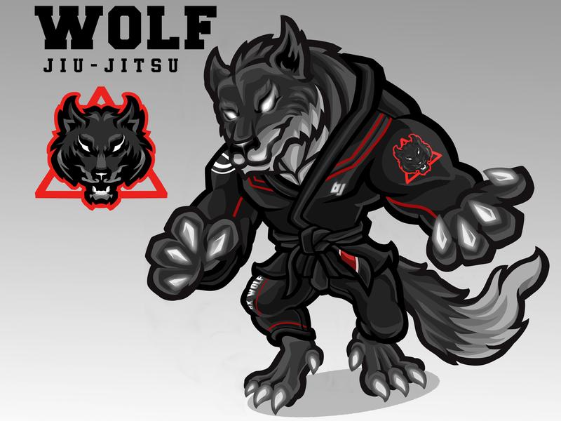 Wolf Jiujutsu - Sport mascot design esports sportslogo brazilian jiu jitsu jiujitsu wolf illustration logo design character mascot sports