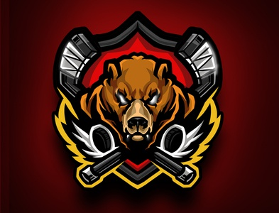 Bear hockey stick and puck logo