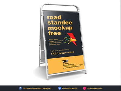 PSD Free Road Standee Mockup Download download free psd free mockup road standee bus stop mockup