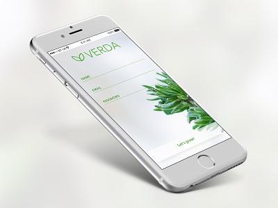 Verda App Login create account app mobile garden monitor iot grow