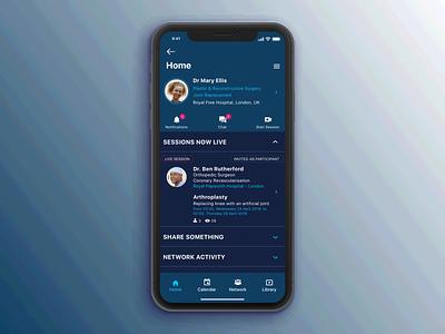 Video platform for medical professionals ui  ux design ios landing page profile page