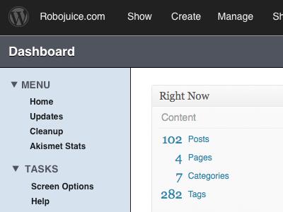 Wordpress IA Fixes wordpress admin menu manage dashboard