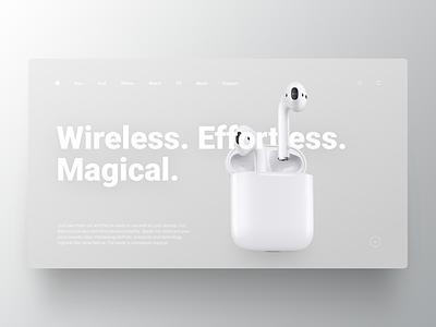 First screen for promo AirPods firstscreen landing apple web design uiux webdesign figma