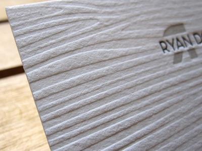 RD Letterpress Business Card letterpress business card paper print white wood texture