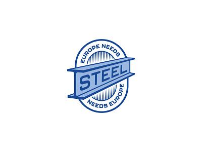 Europe needs steel team sport perspective industry european europe blue crest logo section steel