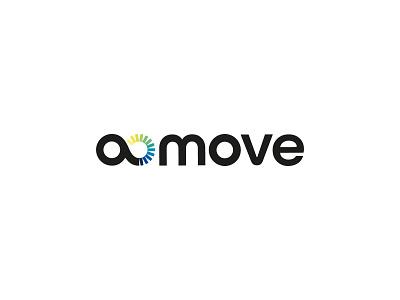 a move logo yellow green blue automotive branding movement infinite circle rays logo gradient infinity move a