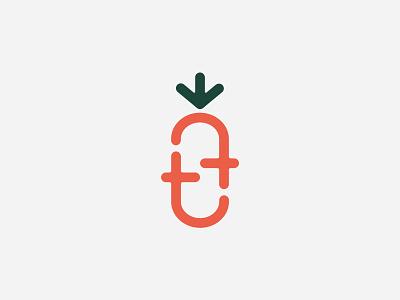 Farm monogram - double t letter natural symbol green orange vegetable plant monogram logo t carrot farm