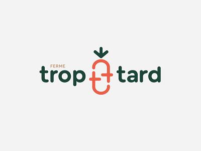 Ferme Trop Tard carrot orange green monogram letter t vegetable farm logo