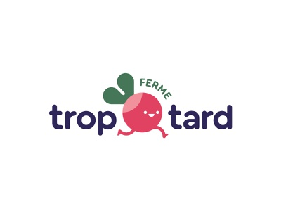 Ferme Trop Tard logo mark late branding cute natural illustration vegetable farm character running radish logo