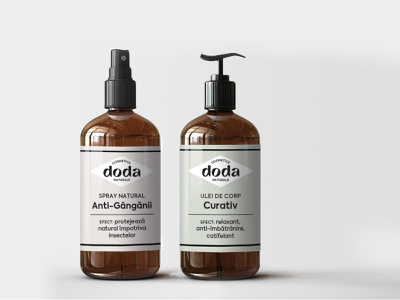 Doda Natural Cosmetics - packaging green label visual identity artisanal packaging dispenser beauty products natural cosmetics