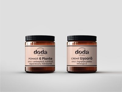 Doda Natural Cosmetics - packaging lotion cream pink container labels natural herbal skincare beauty products cosmetics