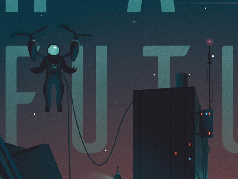 February Hackathon Poster astronaut neon spaceship dark retro future night booking hackathon