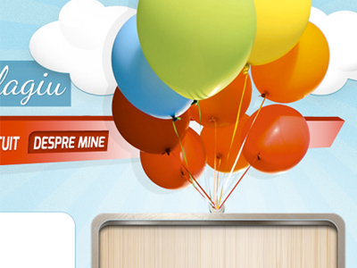 Baloons menu panel webdesign baloons metalic wooden web design