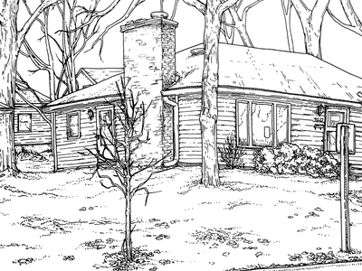 JR Liggett's design house pen linework micron ink illustration