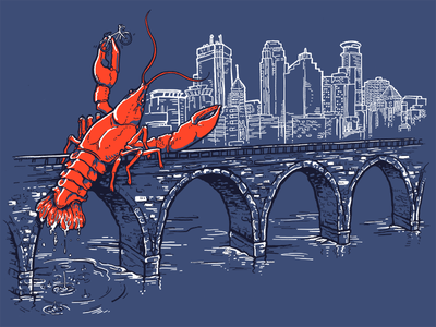 Attack of the Crawfish minneapolis stone arch screen print drawing photoshop illustration design shirt apparel