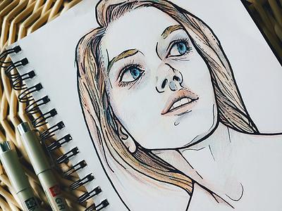 Des Visages micron colored pencil pen self portrait illustration sketch