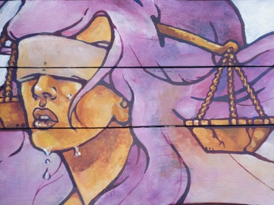 Why is Justice Blind? color lines purple yellow justice scales design concept acrylic painting