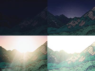 Endless Noonday drawing micron dawn noonday sunrise mountains adobe photoshop illustration