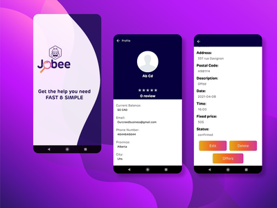 Jobee saas website android app outsourcing freelancing ui design website web design mobile app prototype ux ui design