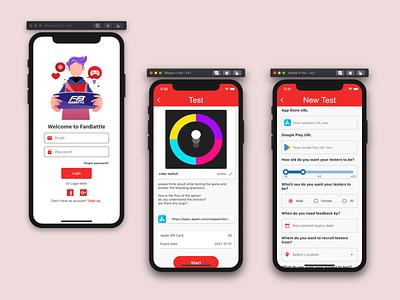 Fan Battle gaming saas ui design mobile app prototype ux ui design