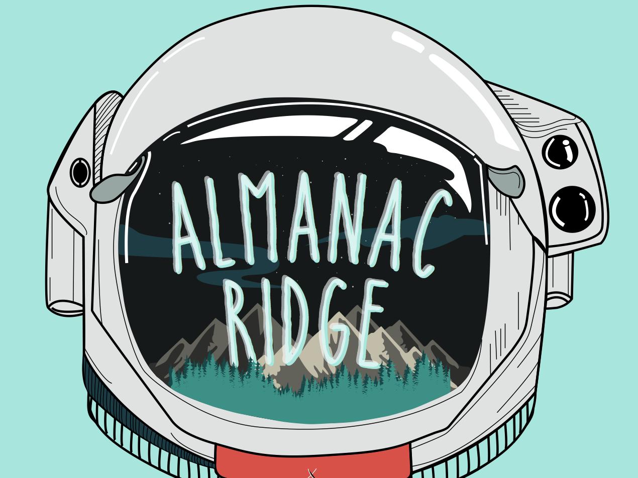 Almanac Ridge sticker helmet astronaut bluegrass rocket man spaceman illustration art logo typography branding vector illustration illustrator design