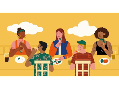Dinner Party women in illustration uiillustration illustrationdesign diversity characterdesign party dinner illustration